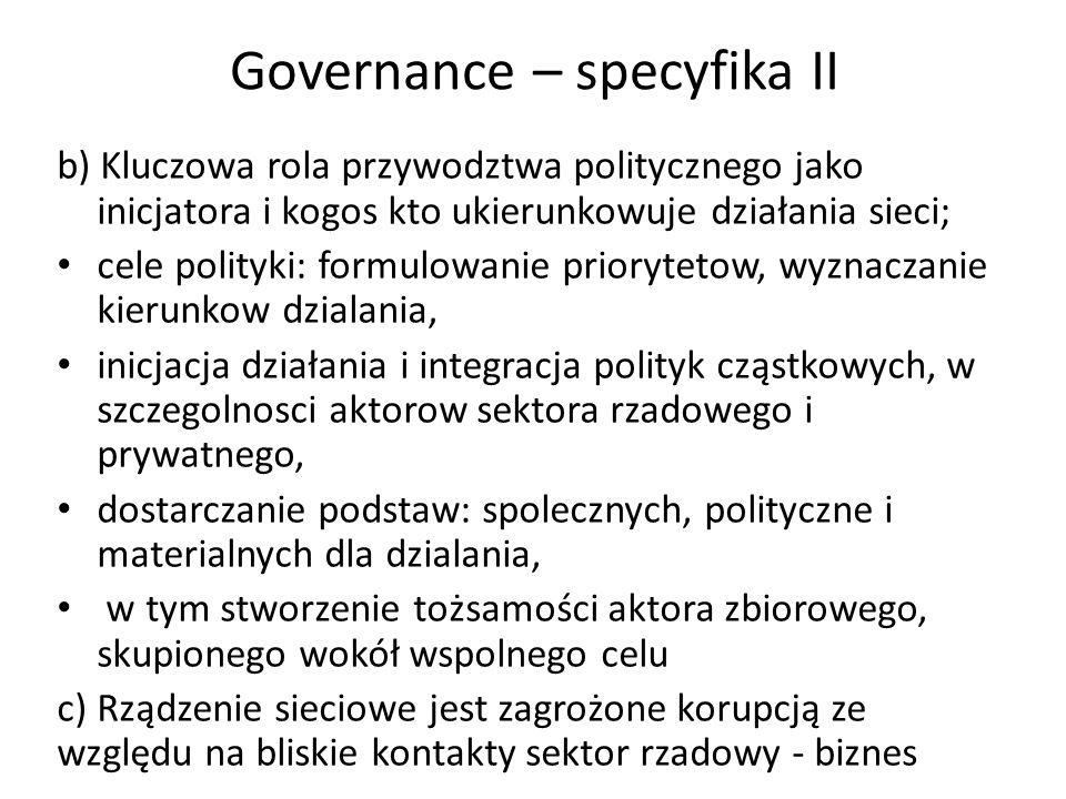 Governance – specyfika II