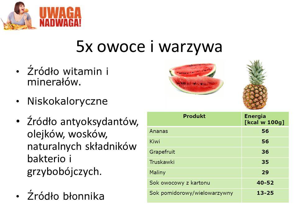 5x owoce i warzywa Źródło witamin i minerałów. Niskokaloryczne.