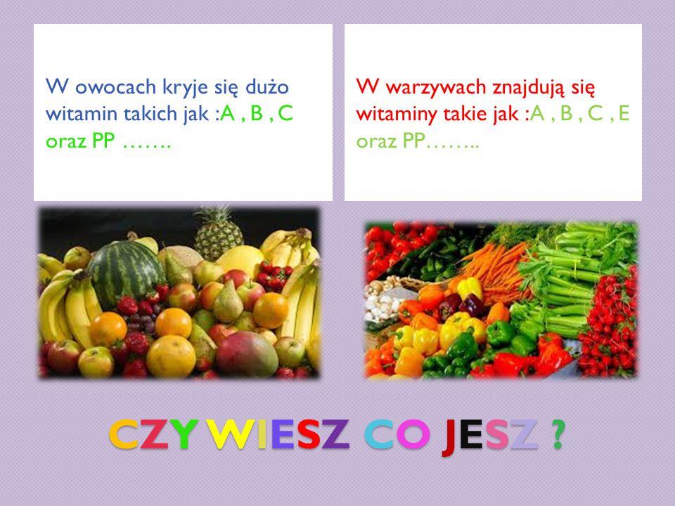 W owocach kryje się dużo witamin takich jak :A , B , C oraz PP …….