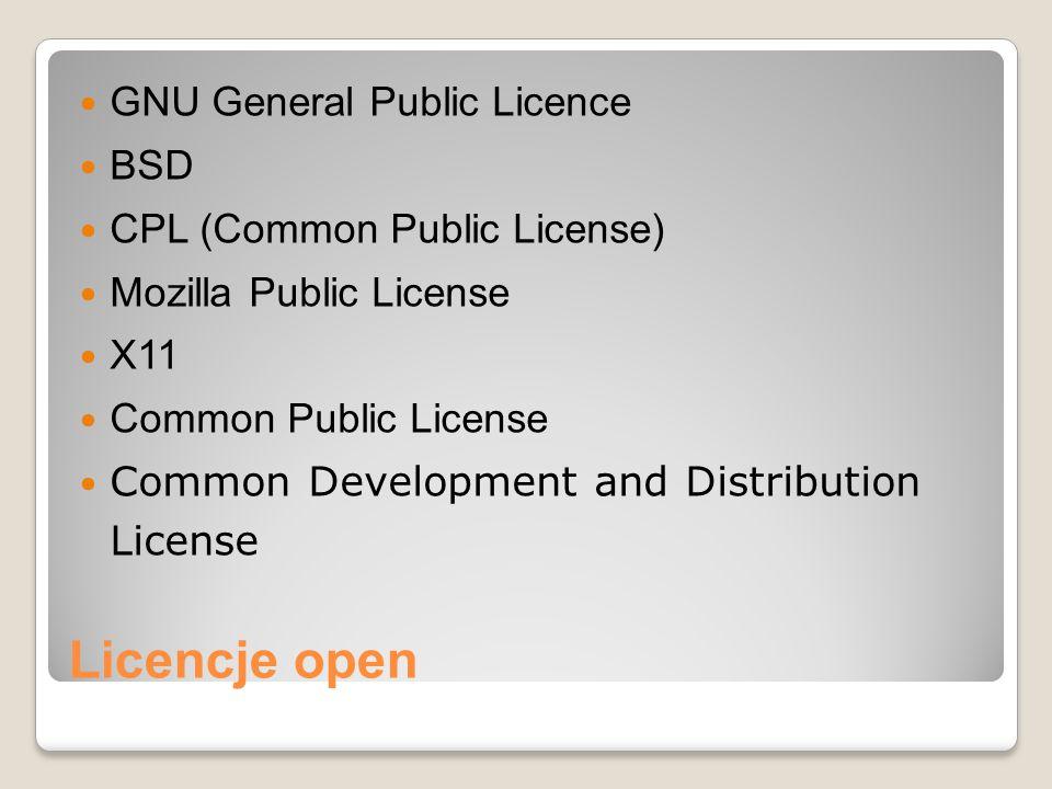 Licencje open GNU General Public Licence BSD