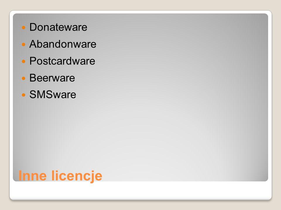 Donateware Abandonware Postcardware Beerware SMSware Inne licencje