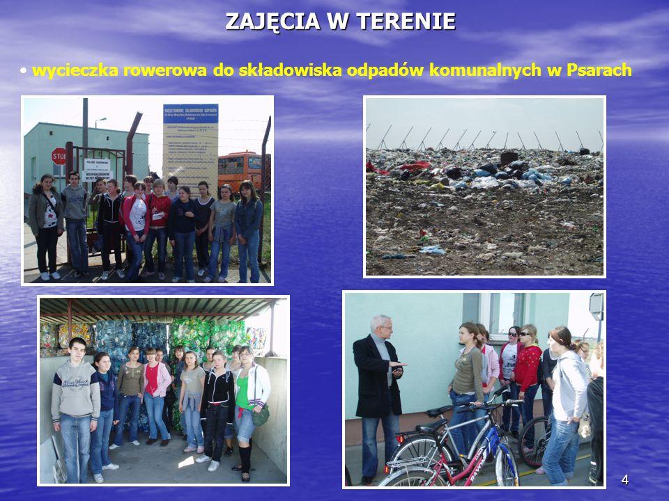 ZAJĘCIA W TERENIE wycieczka rowerowa do składowiska odpadów komunalnych w Psarach
