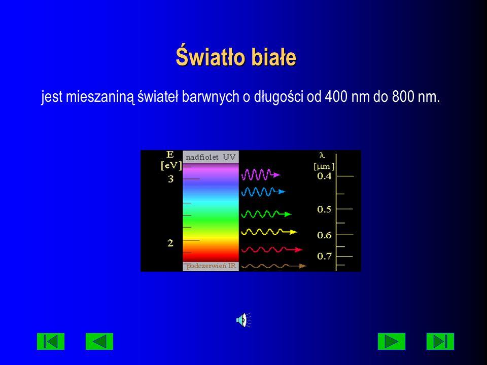 jest mieszaniną świateł barwnych o długości od 400 nm do 800 nm.