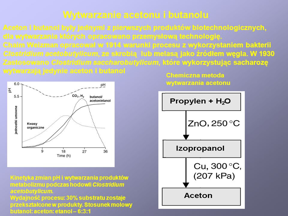 Wytwarzanie acetonu i butanolu