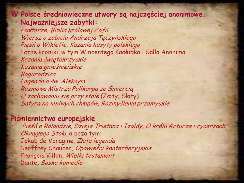 Piśmiennictwo europejskie