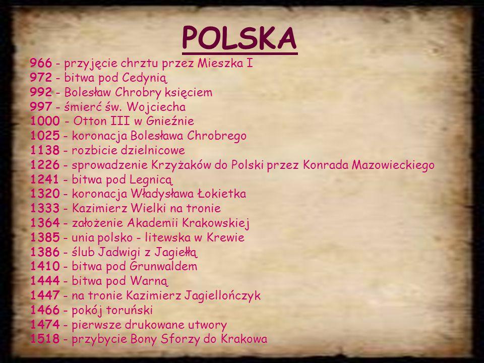 POLSKA 966 - przyjęcie chrztu przez Mieszka I 972 - bitwa pod Cedynią