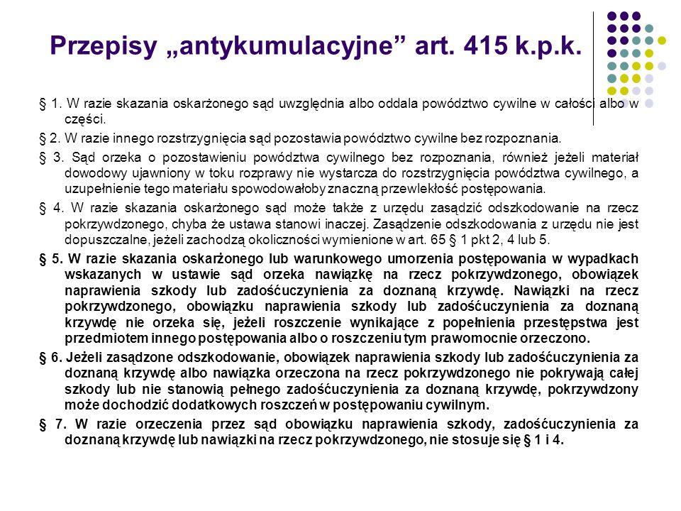 """Przepisy """"antykumulacyjne art. 415 k.p.k."""