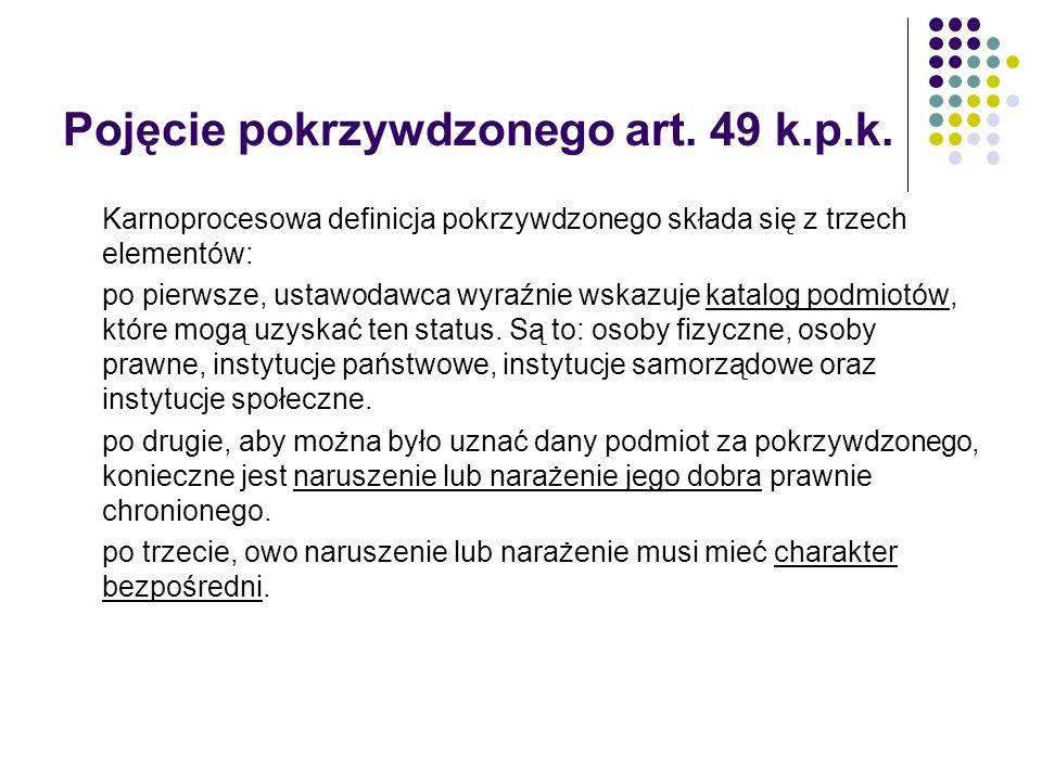 Pojęcie pokrzywdzonego art. 49 k.p.k.
