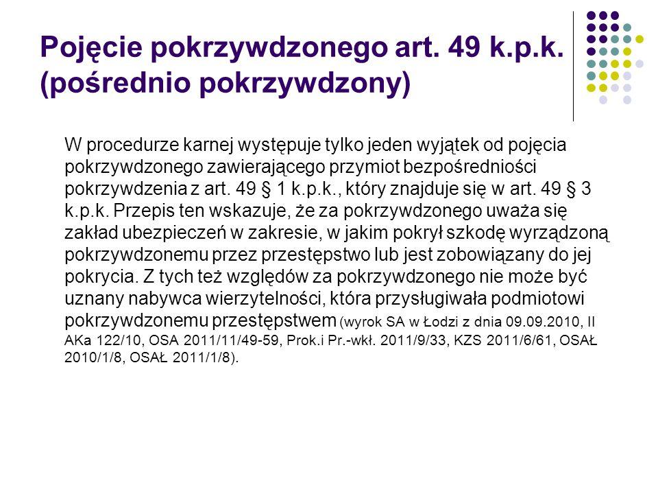 Pojęcie pokrzywdzonego art. 49 k.p.k. (pośrednio pokrzywdzony)