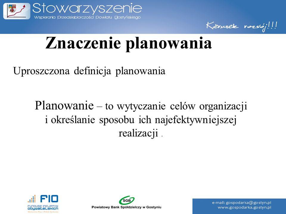 Znaczenie planowania Uproszczona definicja planowania.