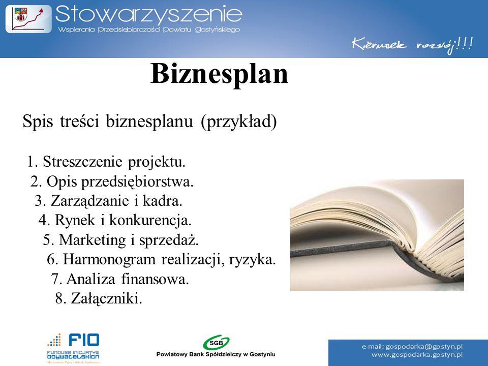 Biznesplan Spis treści biznesplanu (przykład)