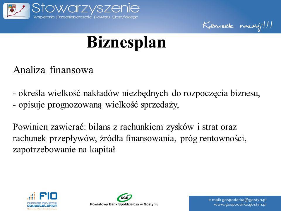 Biznesplan Analiza finansowa