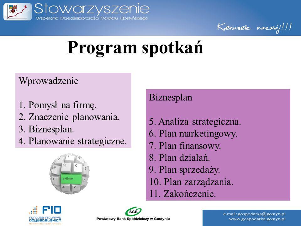 Program spotkań Wprowadzenie 1. Pomysł na firmę. Biznesplan