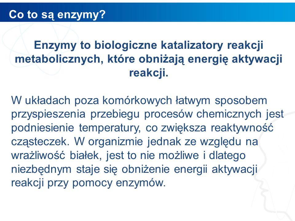 Co to są enzymy Enzymy to biologiczne katalizatory reakcji metabolicznych, które obniżają energię aktywacji reakcji.