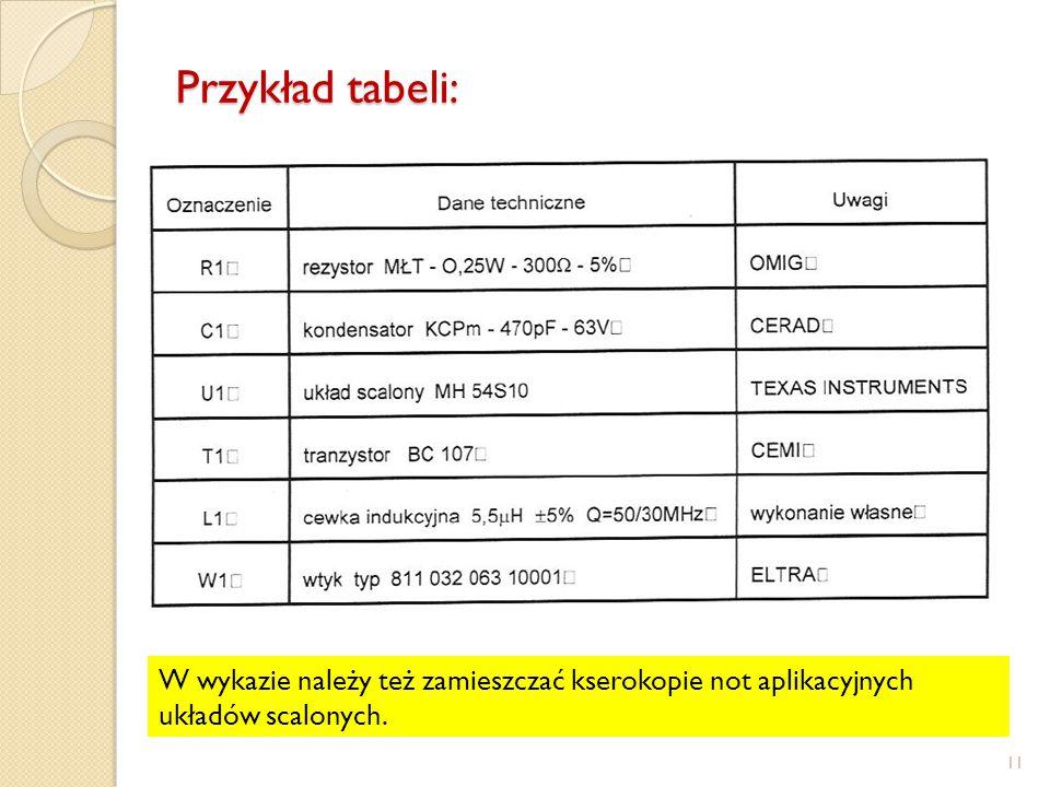 Przykład tabeli: W wykazie należy też zamieszczać kserokopie not aplikacyjnych układów scalonych.