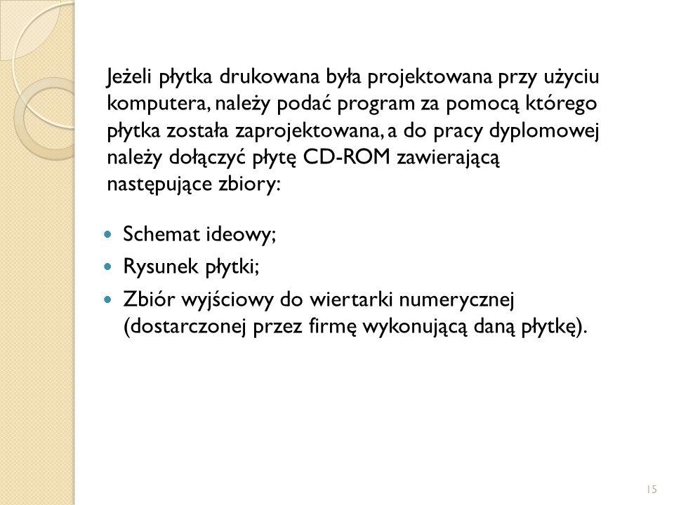 Jeżeli płytka drukowana była projektowana przy użyciu komputera, należy podać program za pomocą którego płytka została zaprojektowana, a do pracy dyplomowej należy dołączyć płytę CD-ROM zawierającą następujące zbiory: