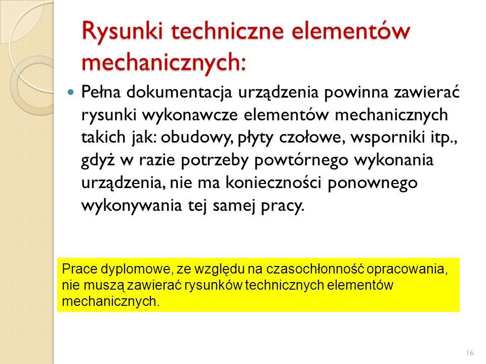 Rysunki techniczne elementów mechanicznych: