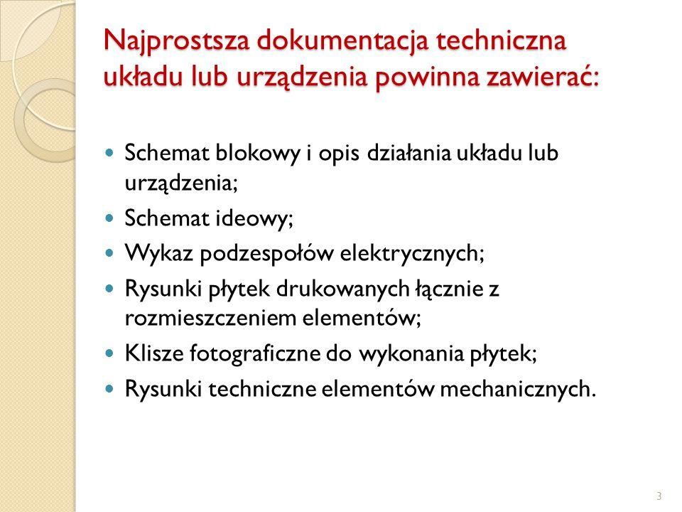 Najprostsza dokumentacja techniczna układu lub urządzenia powinna zawierać:
