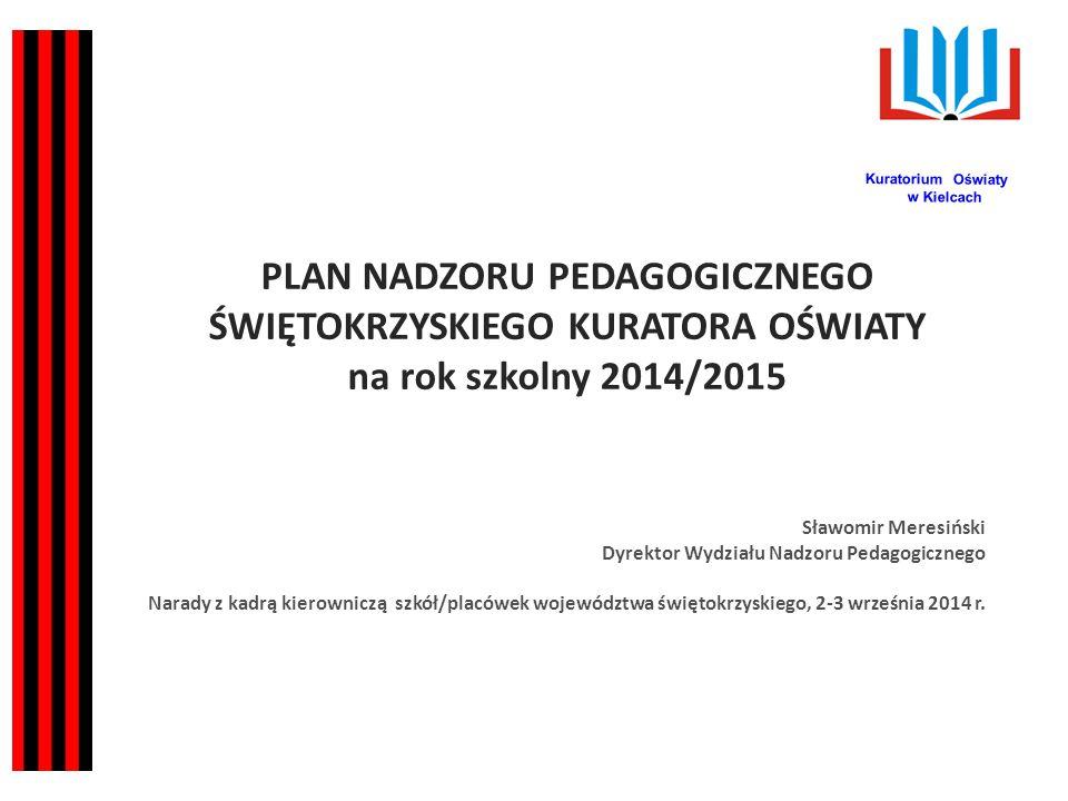 Kuratorium Oświaty w Kielcach. PLAN NADZORU PEDAGOGICZNEGO Świętokrzyskiego Kuratora oświaty na rok szkolny 2014/2015.
