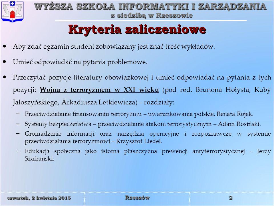 Kryteria zaliczeniowe