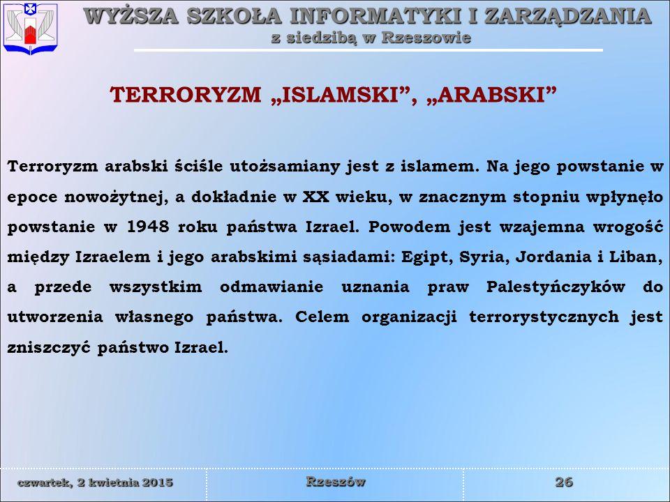"TERRORYZM ""ISLAMSKI , ""ARABSKI"