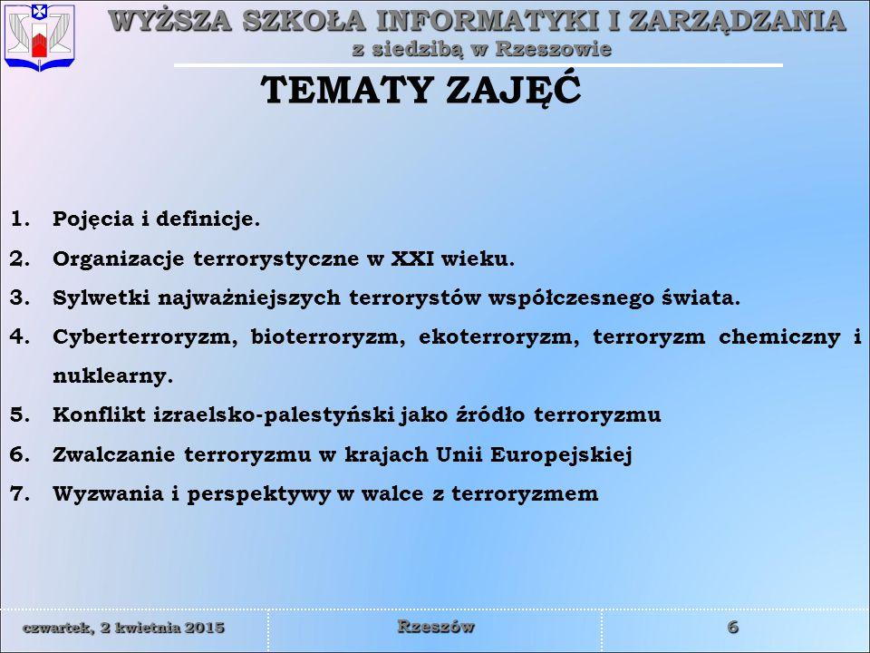 TEMATY ZAJĘĆ Pojęcia i definicje.