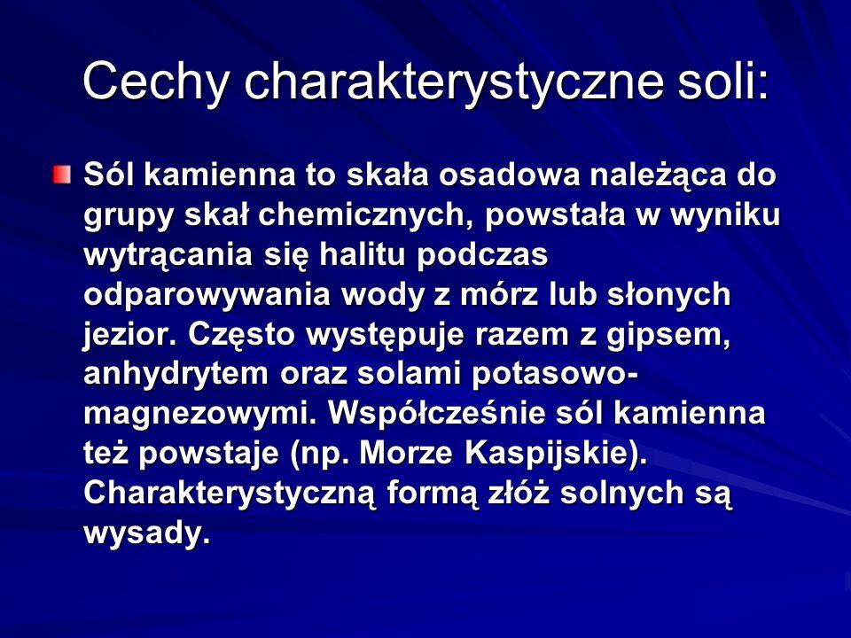 Cechy charakterystyczne soli: