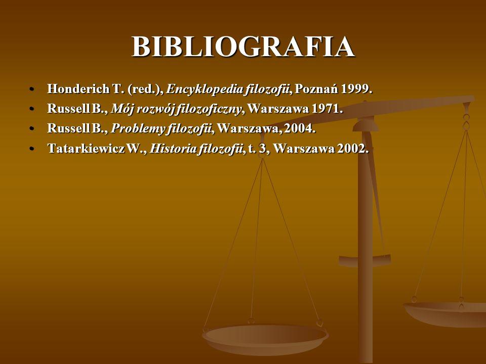 BIBLIOGRAFIA Honderich T. (red.), Encyklopedia filozofii, Poznań 1999.