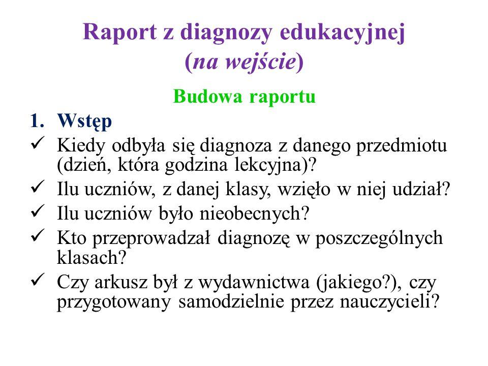 Raport z diagnozy edukacyjnej (na wejście)
