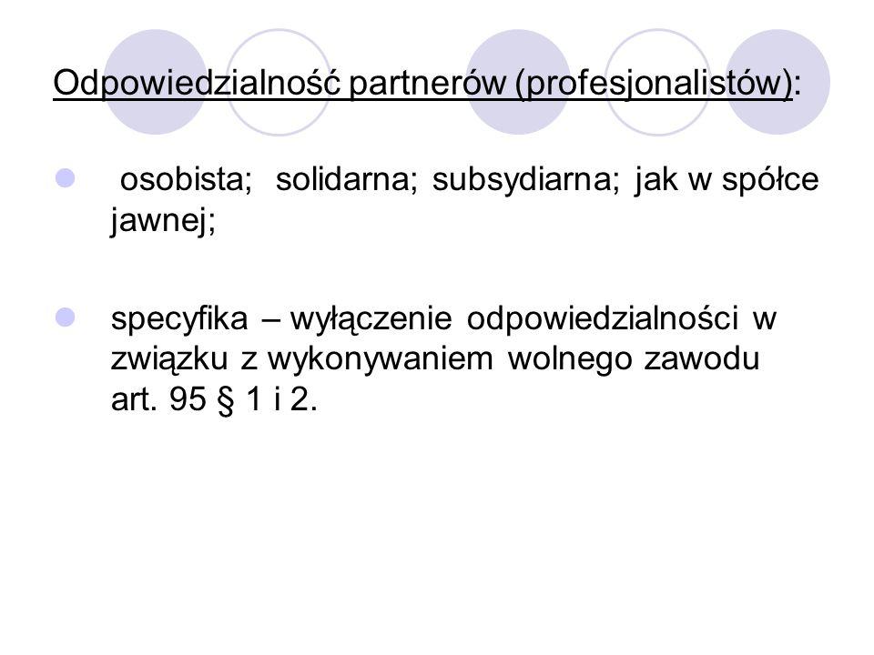 Odpowiedzialność partnerów (profesjonalistów):