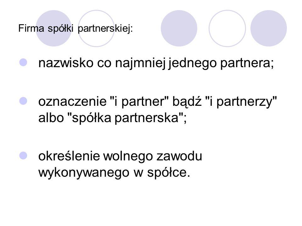 Firma spółki partnerskiej: