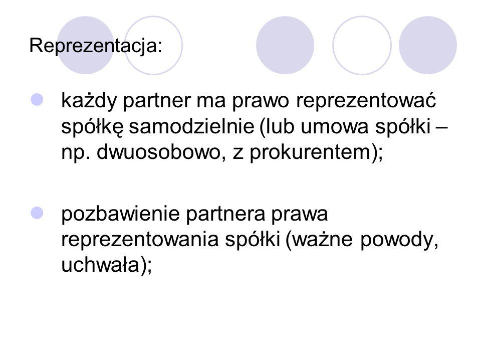 Reprezentacja: każdy partner ma prawo reprezentować spółkę samodzielnie (lub umowa spółki –np. dwuosobowo, z prokurentem);