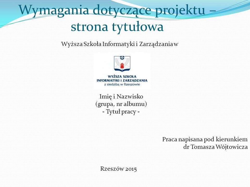 Wymagania dotyczące projektu – strona tytułowa