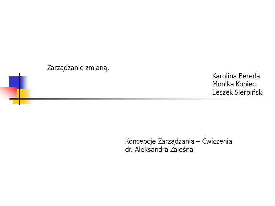 Zarządzanie zmianą. Karolina Bereda. Monika Kopiec. Leszek Sierpiński. Koncepcje Zarządzania – Ćwiczenia.