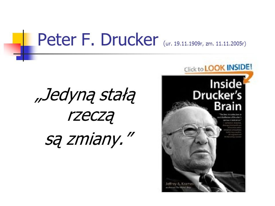 Peter F. Drucker (ur. 19.11.1909r, zm. 11.11.2005r)