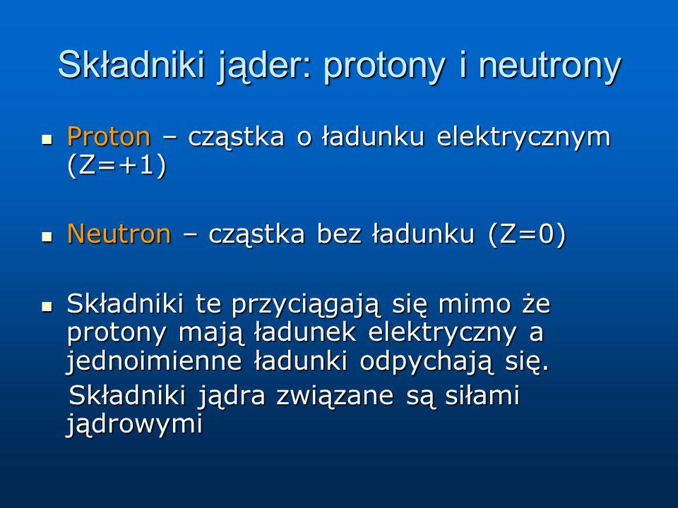 Składniki jąder: protony i neutrony