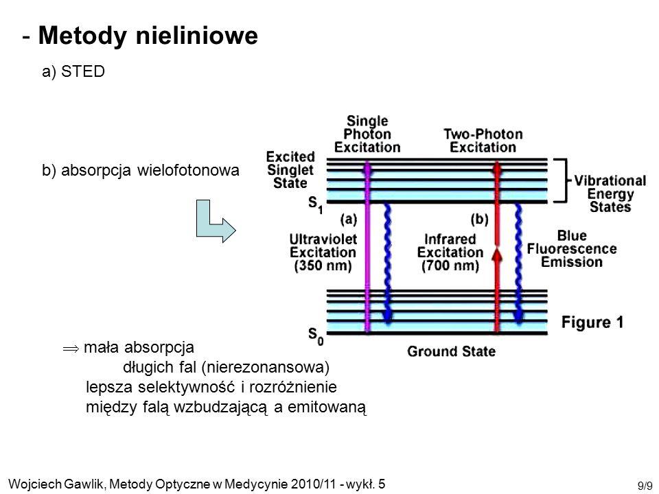 Metody nieliniowe a) STED b) absorpcja wielofotonowa  mała absorpcja