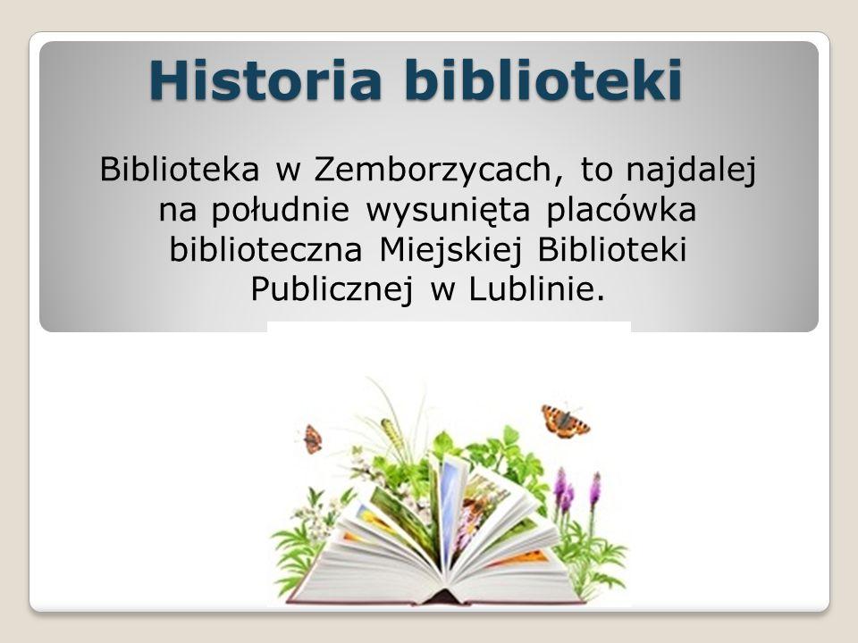 Historia biblioteki Biblioteka w Zemborzycach, to najdalej na południe wysunięta placówka biblioteczna Miejskiej Biblioteki Publicznej w Lublinie.