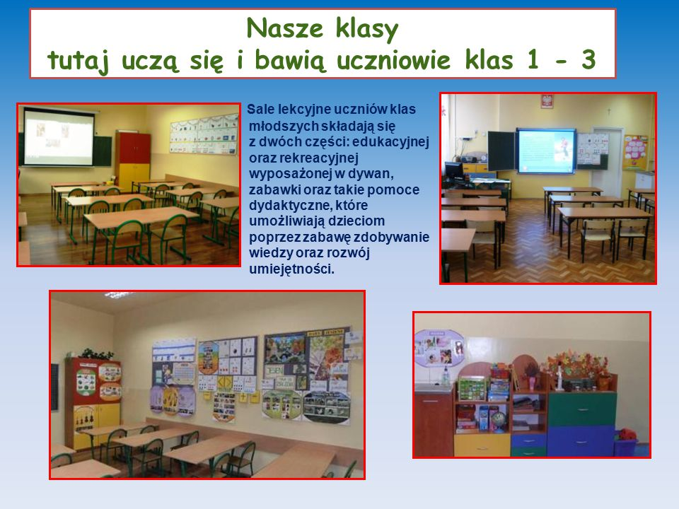 Nasze klasy tutaj uczą się i bawią uczniowie klas 1 - 3