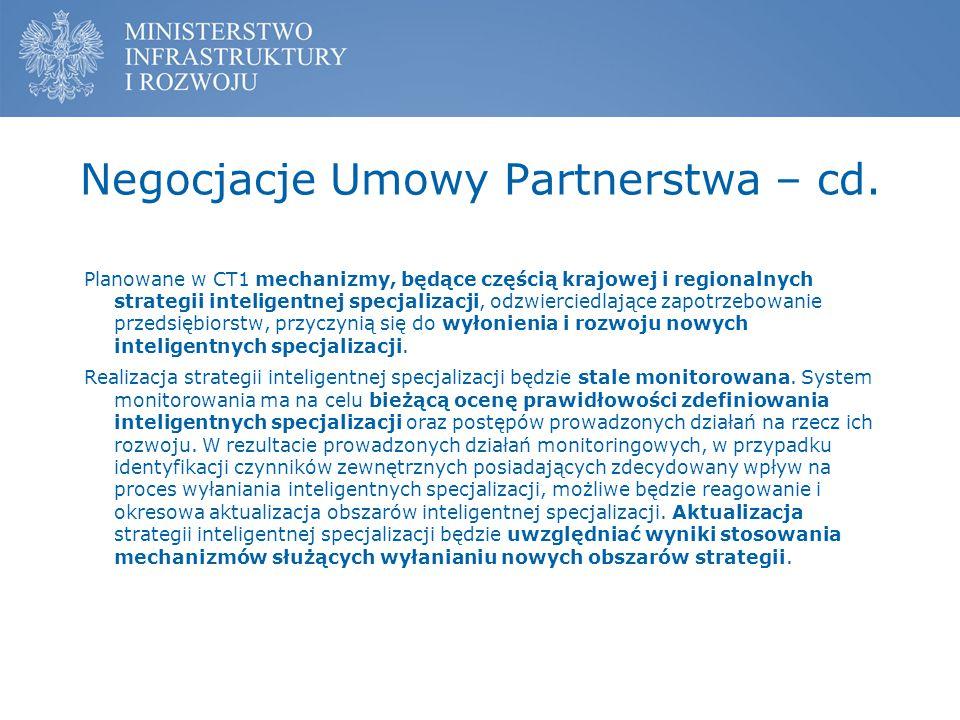 Negocjacje Umowy Partnerstwa – cd.