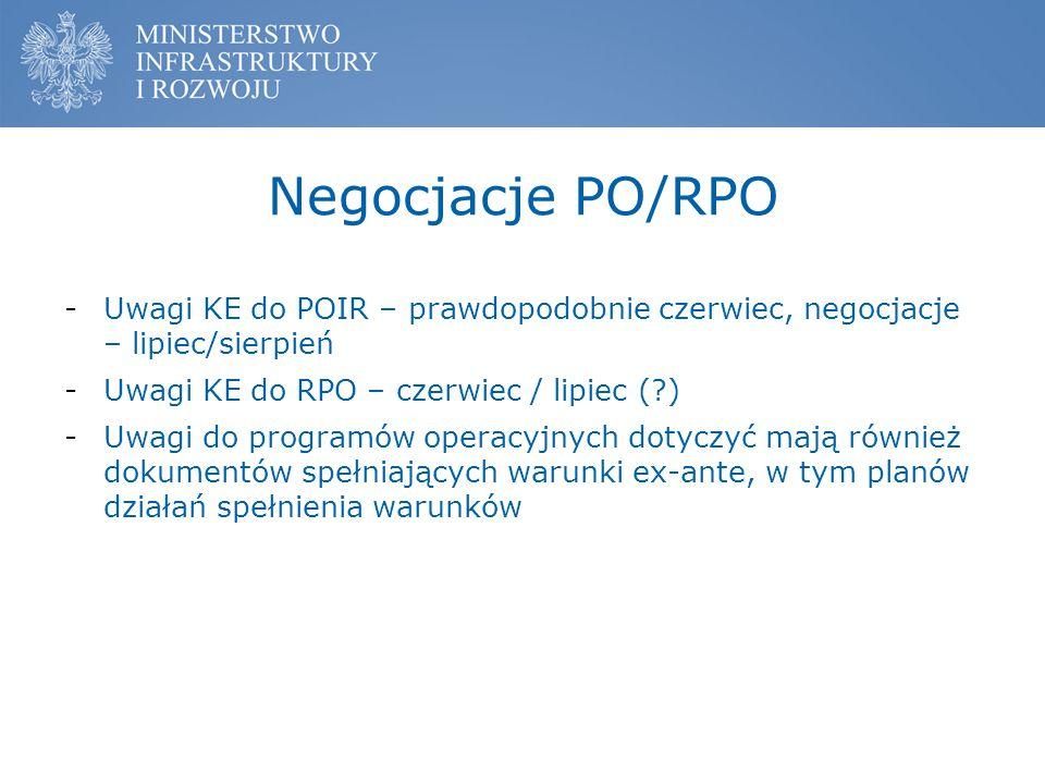Negocjacje PO/RPO Uwagi KE do POIR – prawdopodobnie czerwiec, negocjacje – lipiec/sierpień. Uwagi KE do RPO – czerwiec / lipiec ( )