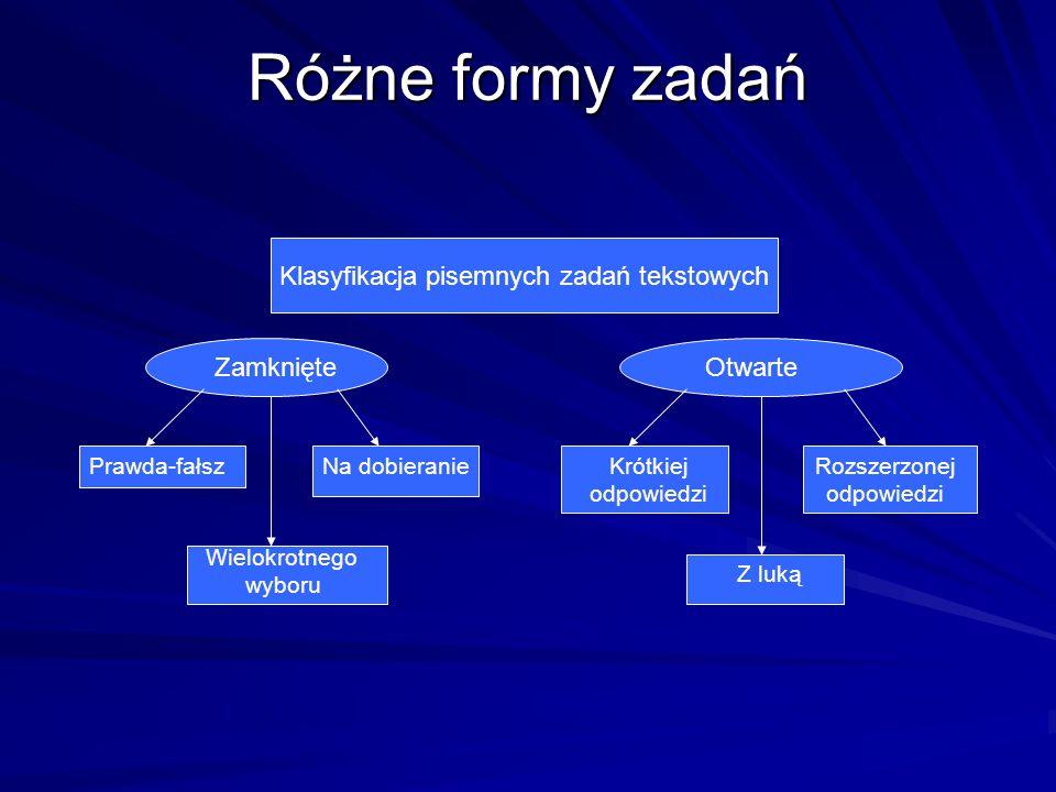 Różne formy zadań Klasyfikacja pisemnych zadań tekstowych Zamknięte