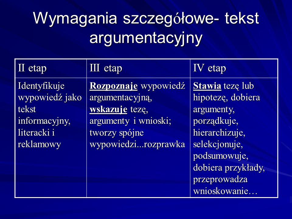 Wymagania szczegółowe- tekst argumentacyjny