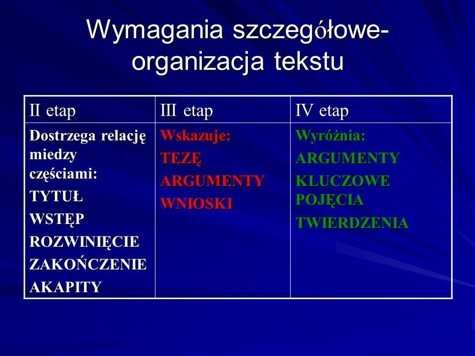 Wymagania szczegółowe- organizacja tekstu