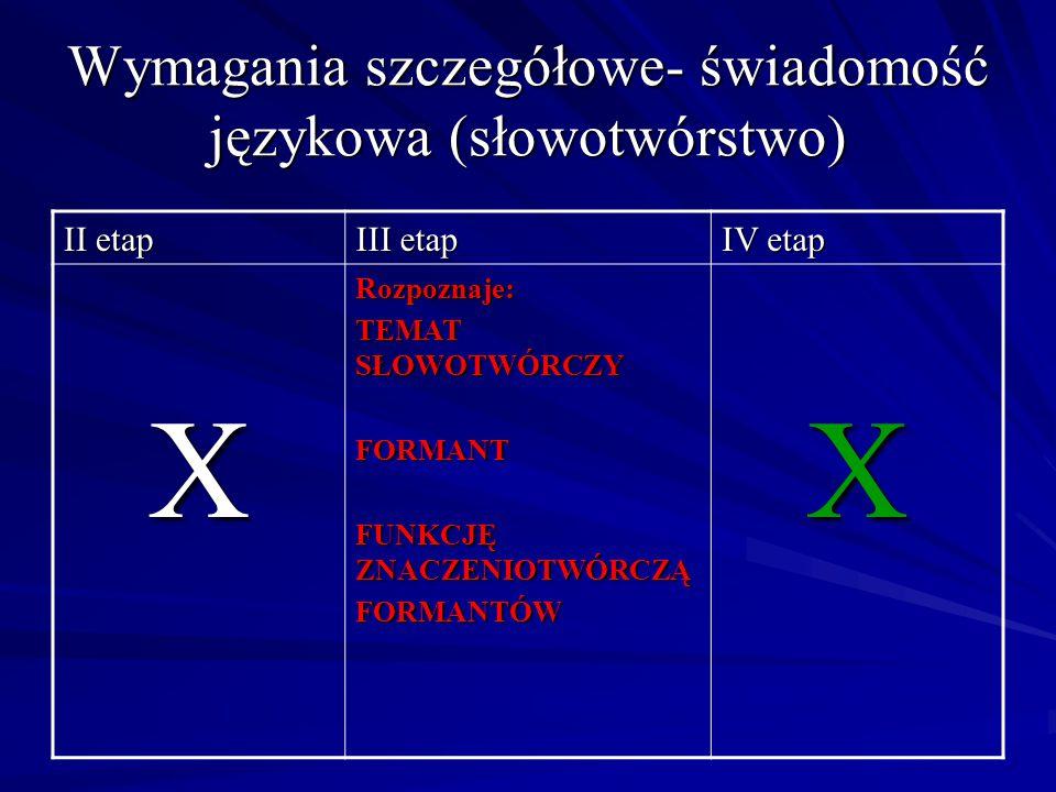 Wymagania szczegółowe- świadomość językowa (słowotwórstwo)