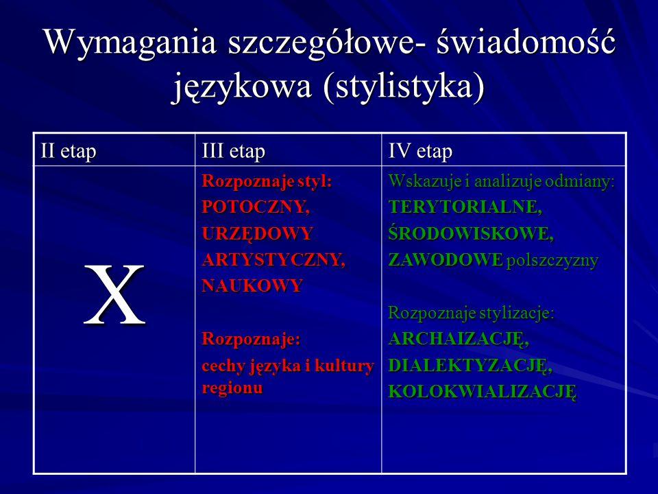 Wymagania szczegółowe- świadomość językowa (stylistyka)
