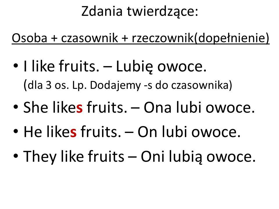 She likes fruits. – Ona lubi owoce. He likes fruits. – On lubi owoce.