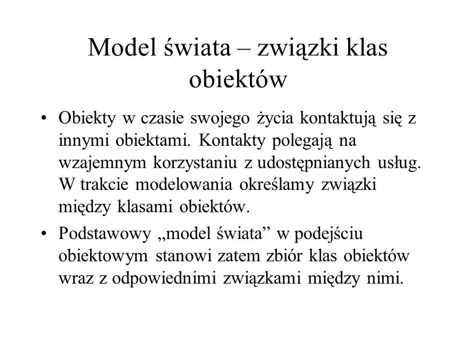 Model świata – związki klas obiektów