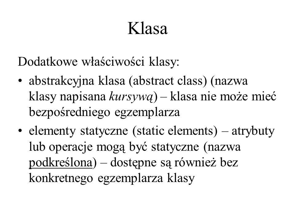 Klasa Dodatkowe właściwości klasy: