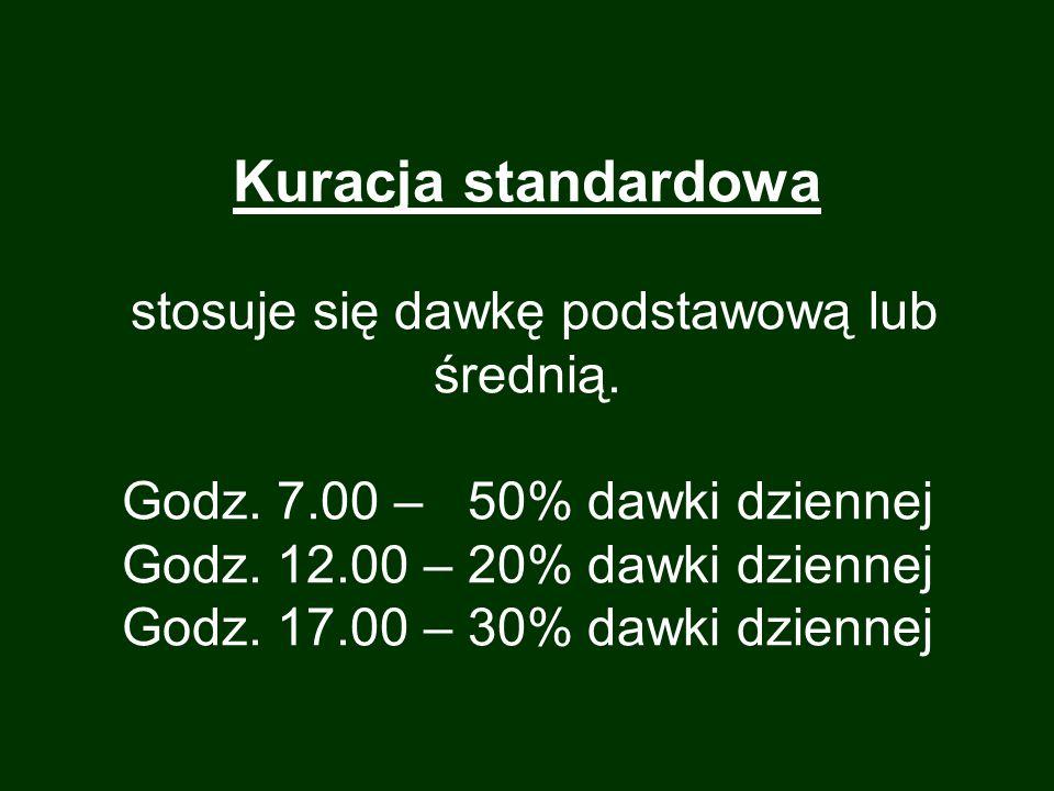 Kuracja standardowa stosuje się dawkę podstawową lub średnią. Godz. 7